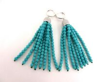 Turkish Handmade Long Tassel Turquoise Gemstone Earrings Swarovski crystal JW001