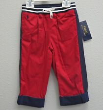 POLO RALPH LAUREN Boys Red Navy Detail Cotton Lined Class Pants NEW NWT - 24m