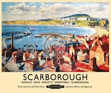 Scarborough Harbour Beach Bay Vintage British Rail Ad Medium Metal/Tin Sign