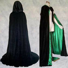 Lined Black Green Velvet Cloak Cape Wedding Wicca SCA Cosplay LARP LOTR GOT