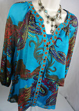 Figueroa and Flower Top Size Large Set Retro Print Tunic Loose Womens Shirt L