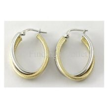 Two Tone Silver Hoop Earrings Fine Jewelry Great Value #0500 2 Colors Available
