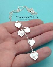 Tiffany & Co. Plata Esterlina son recurren a Tiffany' 5 Gota Colgante Collar de corazón