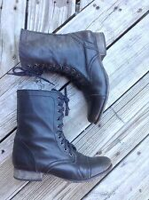 STEVE MADDEN BLACK LEATHER TROOPA GRANNY/COMBAT BOOTS WOMEN'SIZE 9.5