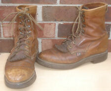 Mens Justin 10 1/2 B Brown Roper Lace Up Western Style Work Boots