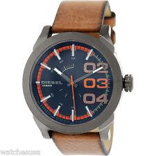 Diesel Mens Black and Orange Dial Brown Leather Strap Quartz Watch DZ-1680