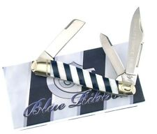 Colt - Blue Ribbon Stockman Folding Knife - Genuine MOP & Blue Striped Handle