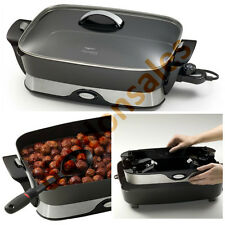Electric Skillet Fry Pan Frypan Frying Non Stick 16 Lid Casserole Pan Pot Roast