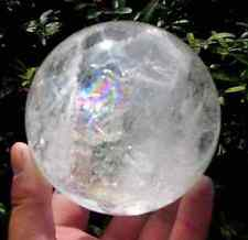 NATURAL RAINBOW CLEAR QUARTZ 40mm CRYSTAL SPHERE BALL HEALING GEMSTONE Freestand