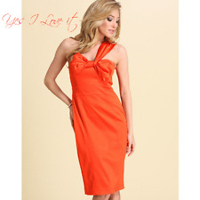 TedBaker Asymmetric Bow Front Fitted Party Dress in BRTOrange Size 1 UK8 RRP£150