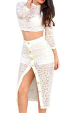 White Sheer Lace Crop Top Midi Split Party Skirt Set