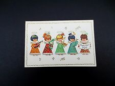Vintage Unused Glitter Xmas Greeting Card Angels Playing Music & Singing