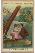 Adoring Couple Don't Keep Anything From Me In WINSTON-SALEM NC PM 1914 Postcard