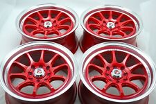 15 Drift red wheels rims Cobalt TL Civic Lancer Cooper Corolla Fit 4x100 4x114.3
