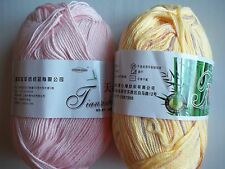 Bamboo cotton 6-ply baby yarn, soft pink/yellow + colors, mixed 2 (329 yds ea)
