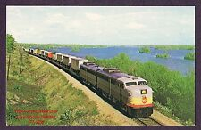 LMH Postcard 1959 CANADIAN PACIFIC Intermodal Trailer Train CP FA1 4001 FB1 4404