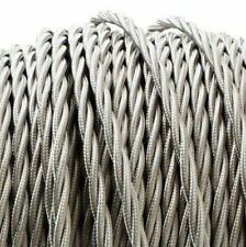 SILVER TWIST vintage style textile fabric electrical cord cloth cable 1m