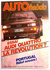 AUTO HEBDO n°206 du 13/3/1980; Essai Audi Quattro/ Salon de Genève/ Portugal