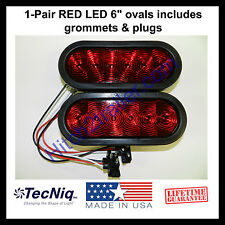"(2) Trailer Truck LED Sealed RED 6"" Oval Stop/Turn/Tail Light TECNIQ USA"