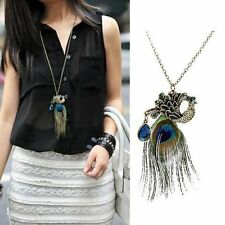 Womens Vintage Retro Peacock Feather Pendant Long Chain Sweater Necklace V.G