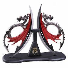 New Fantasy Master Dragons Blade Knives Display Wood Plaque Stainless Steel