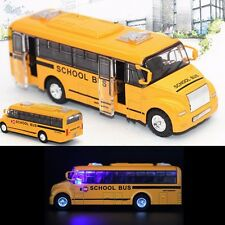 1:32 Yellow School Bus Diecast Model Toy Pull Back Action Openable Door w/ Light