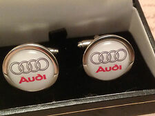 AUDI CUFF LINKS SILVER IN BOX COLLECTABLE BNIB A 1 2 3 4 5 6 7 Q RS R