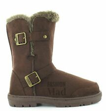 ELLA SHOES ALEX WOMENS LADIES ELLA FLAT WINTER BUCKLE CALF BIKER BOOTS SIZE 3-