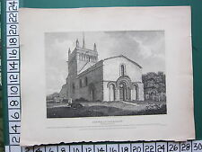 1807 DATED ANTIQUE PRINT ~ STEWKLEY CHURCH SOUTH WEST ~ BUCKINGHAMSHIRE