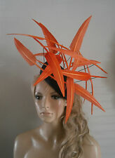 Navy / Orange / berretto / Percher / Cappello / VINTAGE / Donna / Ascot / SPOSA / Fascinator con Piuma /