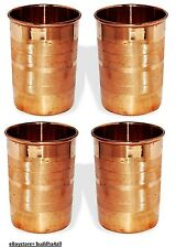 Copper Tumbler Luxury Glass For Healing Ayurveda Product 9 Oz Brown Set of 4
