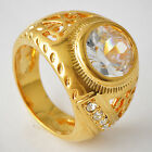 Deluxe Mens Yellow Gold Filled Clear CZ Ring SZ 7-8#A3986-A3987