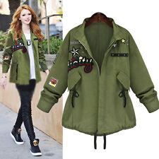 Womens Plus Size Winter Warm Army Green Military Parka Trench Loose Coat Jacket