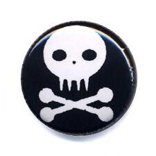 Badge ZOMBIE SKULL fond NOIR tête de mort os bones gothic button badges Ø25mm .