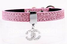 US SELLER Pink CC SPARKLE Dog Cat Bling Rhinestone Pet Collar w CC CHARM XS
