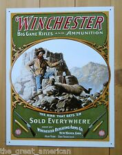 WINCHESTER Big Game Rifles & Ammunition Hunter w Ram Gun Vintage Tin Sign