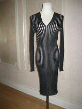 AKRIS RIBBED LONG SLEEVE CASHMERE-SILK DRESS SZ 10
