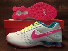 Nike Shox Deliver Print QS Shoes White Pink Pow Blue Lagoon SZ 6Y ( 616542-164 )