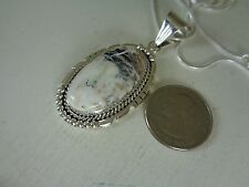 Sacred Buffalo White Turquoise Pendant .925 Sterling By Samuel Yellowhair RB
