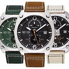 SO & CO NY 5285 Men's Aviator Style Chronograph Quartz Leather Strap Watch