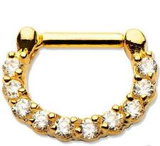 Gold plated CZ septum nose ring clicker body jewelry piercing prong ear lip w71