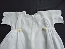 Vintage Hand Made Baby Dress Gown -  Whitework Roses - Ribbon Rosette - 1920's