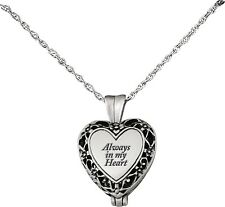"'Always In My Heart' Memorial Urn Necklace Locket on 24"" Chain"