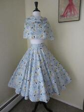Vintage 1950's Novelty Print Full Circle Skirt + Scarf Cinderella Carriage XS S