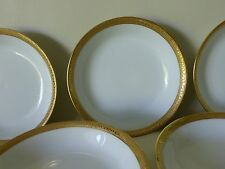 7 ANTIQUE MARTIN LIMOGES RAISED GOLD ENCRUSTED DECORATION FRUIT DESSERT BOWLS