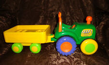 """Farm Tractor & Trailer Sound Push Chimney & Tractor Rolls 15"""" Toddler Toy"""