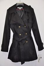 NWT Women DKNY Hooded Double-Breasted Trench Coat. Sz.L