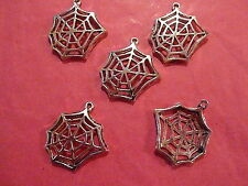 Tibetan silver spider web/cobweb charms 5 per pack HALLOWEEN