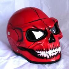Motorcycle Helmet Skull Red Visor Flip Up Shield Ghost Rider