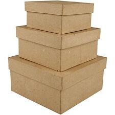 Papier Mache Box Set of 3 - Small Medium Large - Cardboard Plain Decorate Gift